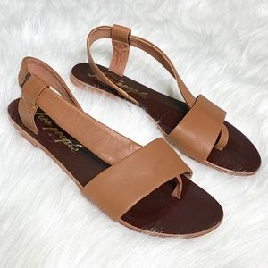 Free People Tan Leather Slip On Thong Sandals
